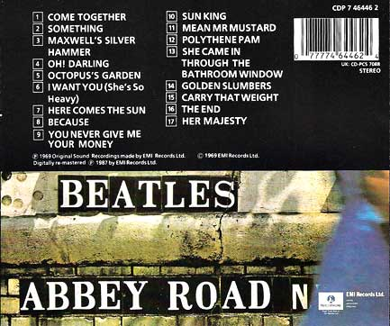 Back Cover Abbey Road CD