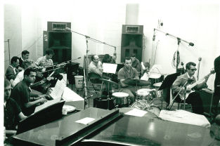 studio musicians at work in Los Angeles