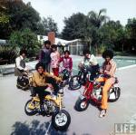 Musical group The Jackson 5 posing by pool on motorscooters w. their parents (L-R) Jackie, Michael, Joseph, Katherine, Marlon, Tito & Jermaine. Encino, CA. Photo: John Olson