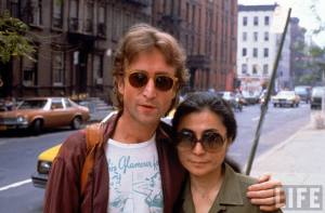 Rock star John Lennon (L) & his second wife Yoko Ono (R), New York 1980